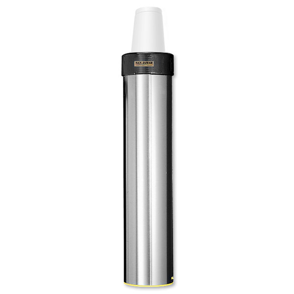 San Jamar C3500EF Stainless Steel Surface Mount Elevator Foam Cup Dispenser - 32 oz. to 46 oz.