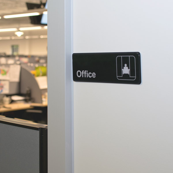 """Office Sign - Black and White, 9"""" x 3"""""""