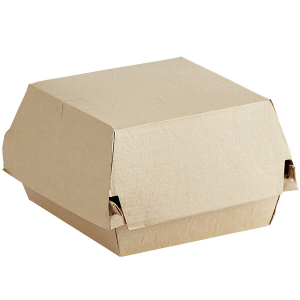 Sabert 5020 4 inch Square Corrugated Kraft Clamshell Take-Out Box - 400/Case