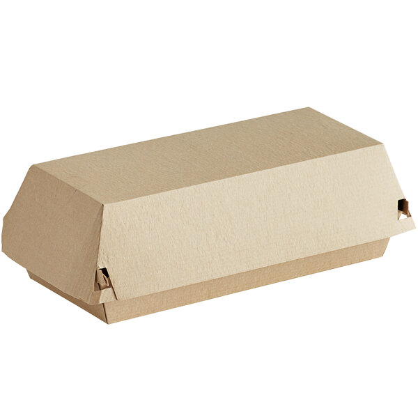 Sabert 5320 7 3/4 inch x 3 1/4 inch Rectangular Corrugated Kraft Clamshell Take-Out Box - 420/Case