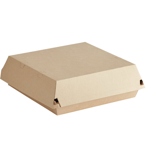 Sabert 5620 8 inch Square Corrugated Kraft Clamshell Take-Out Box - 100/Case