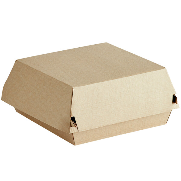 Sabert 5120 5 1/2 inch Square Corrugated Kraft Clamshell Take-Out Box - 200/Case