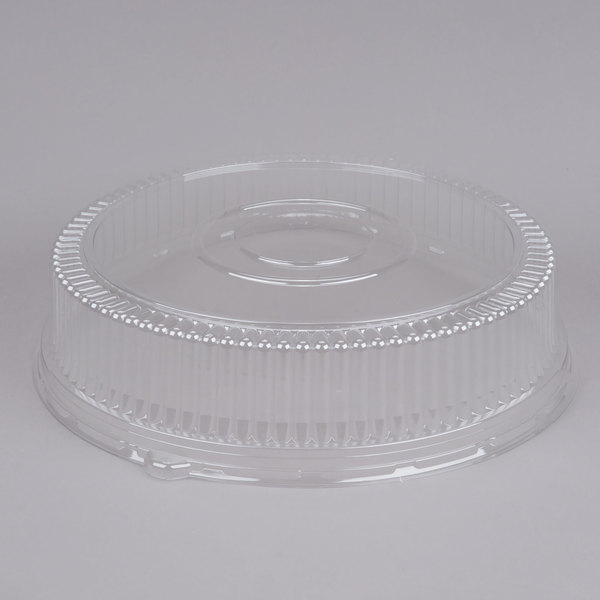 Sabert 5518 18 inch Clear Plastic Round High Dome Lid  - 3/Pack