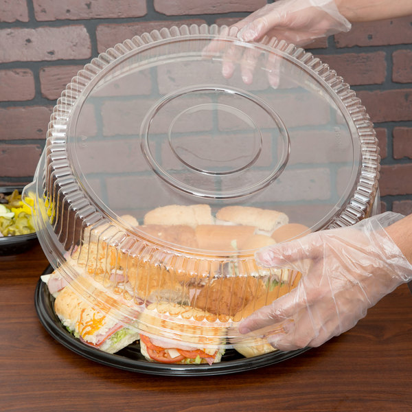 "Sabert 5518 18"" Clear Plastic Round High Dome Lid - 3/Pack"