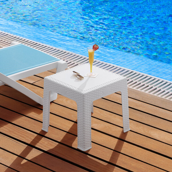 """Lancaster Table & Seating 19 5/16"""" Square White Side Table Main Image 3"""