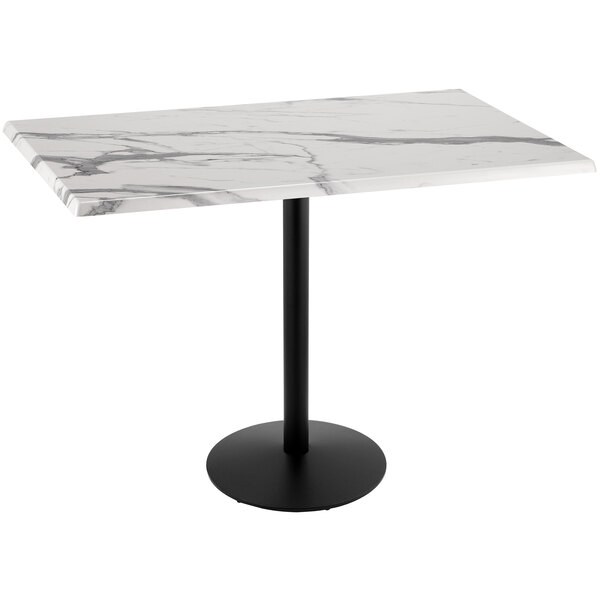 """Holland Bar Stool OD214-2242BWOD3048WM 30"""" x 48"""" White Marble Laminate Outdoor / Indoor Bar Height Table with Round Base Main Image 1"""