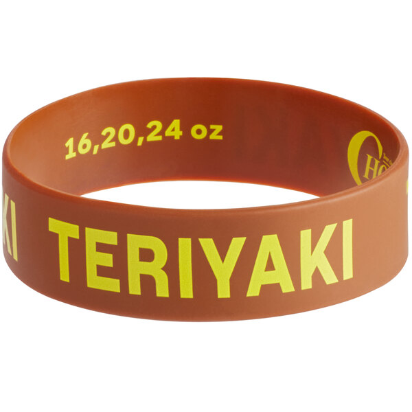 """Choice """"Teriyaki"""" Silicone Squeeze Bottle Label Band for 16, 20, and 24 oz. Standard & Wide Mouth Bottles Main Image 1"""