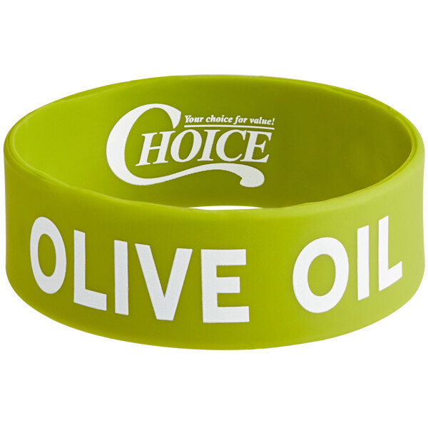 """Choice """"Olive Oil"""" Silicone Squeeze Bottle Label Band for 8 and 12 oz. Standard & Wide Mouth Bottles Main Image 1"""