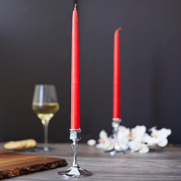 """Sterno Products 40150 12"""" Red 12 Hour Taper Candle - 12/Box"""