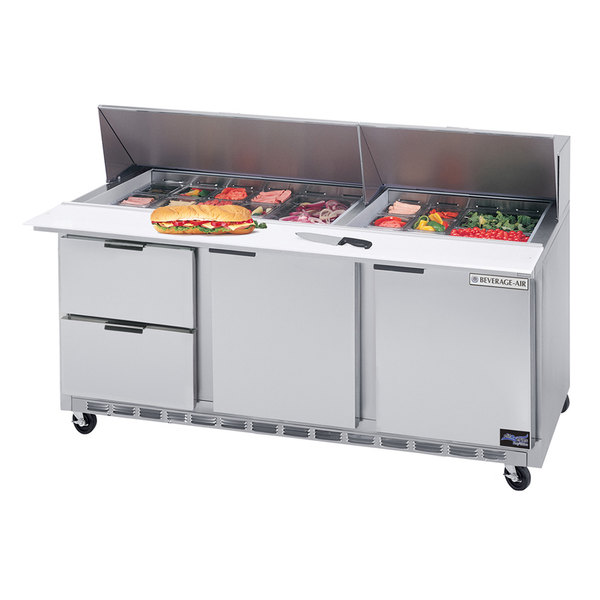 """Beverage-Air SPED72HC-18M-4 72"""" 1 Door 4 Drawer Mega Top Refrigerated Sandwich Prep Table Main Image 1"""