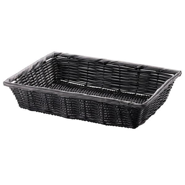 "Tablecraft 2489 16"" x 11 1/2"" x 3"" Black Rectangular Woven Basket"