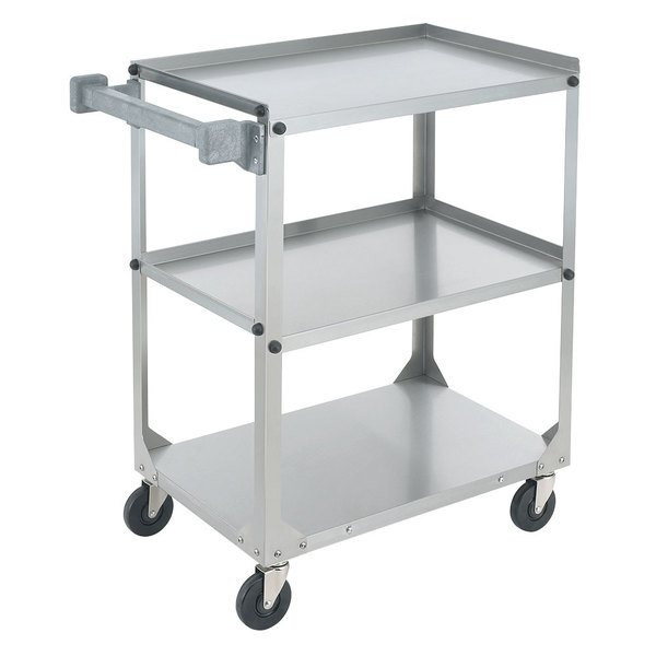 """Vollrath 97326 Knocked Down Stainless Steel 3 Shelf Utility Cart - 30 7/8"""" x 17 3/4"""" x 33 3/4"""""""