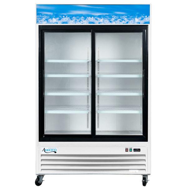 """Avantco GDS-47 53"""" Sliding Glass Door White Merchandiser Refrigerator with LED Lighting"""
