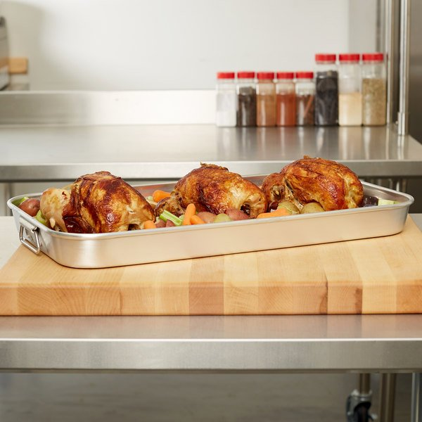 """Vollrath 68253 Wear-Ever 8.9375 Qt. Bake and Roast Pan with Handles - 22 7/8"""" x 13 1/2"""" x 2"""""""