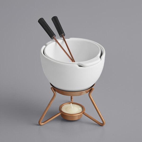 Boska 320402 8.5 oz. Choco Fondue Marie Ceramic Chocolate Fondue Pot Set with 2 Forks Main Image 1