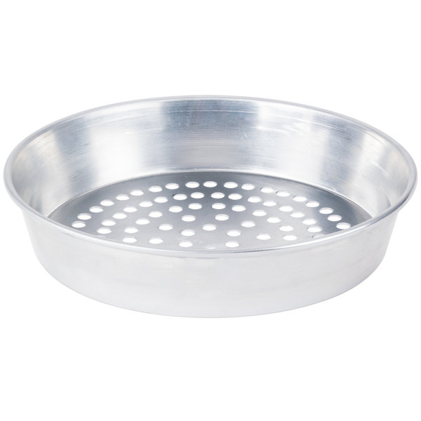 """American Metalcraft SPA90142 14"""" x 2"""" Super Perforated Standard Weight Aluminum Tapered / Nesting Pizza Pan"""