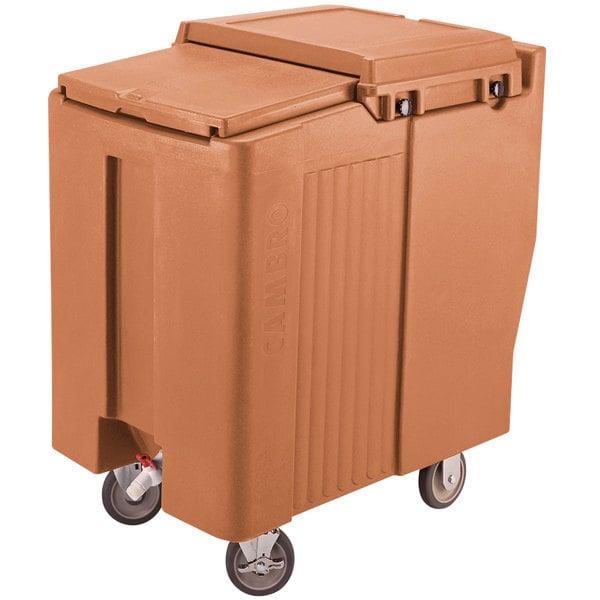 Cambro ICS175T157 SlidingLid™ Coffee Beige Mobile Ice Bin - 175 lb. Capacity Tall Model Main Image 1