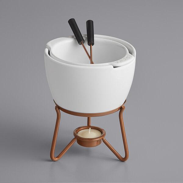 Boska 320400 18.5 oz. Choco Fondue Marie Ceramic Chocolate Fondue Pot Set with 2 Forks Main Image 1