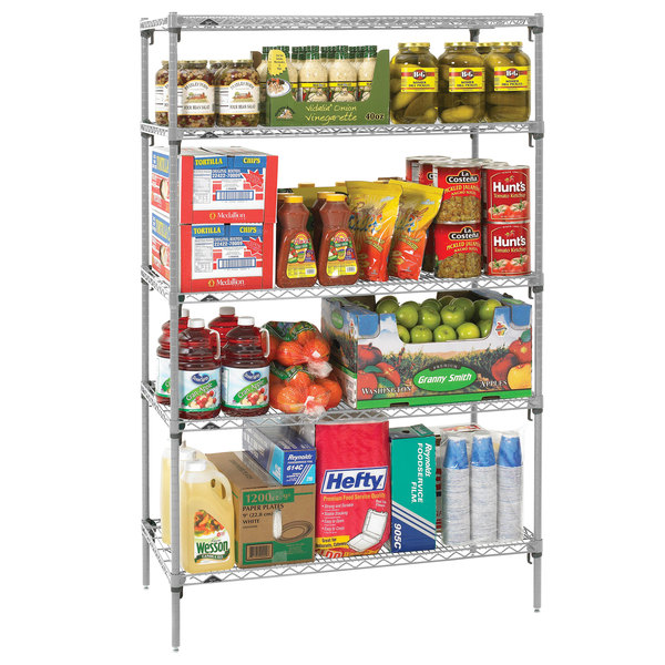 "Metro 5A437C Stationary Super Erecta Adjustable 2 Series Chrome Wire Shelving Unit - 21"" x 36"" x 74"""