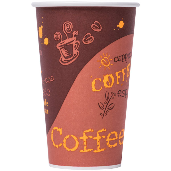 Choice 20 oz. Coffee Print Poly Paper Hot Cup - 50/Pack