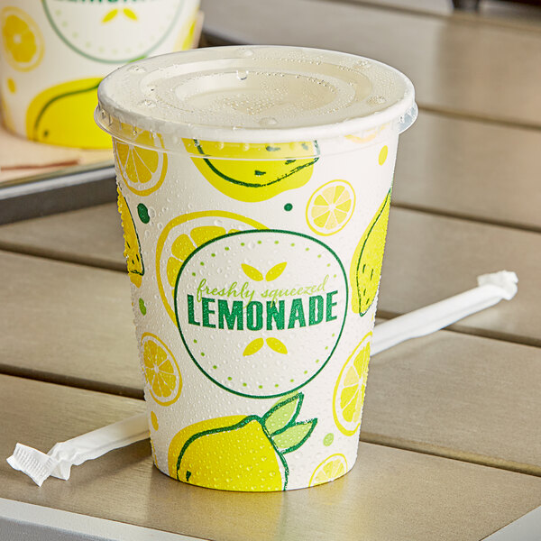 Carnival King 12 oz. Poly Paper Lemonade Cup and Flat Straw Slot Lid - 100/Pack Main Image 2