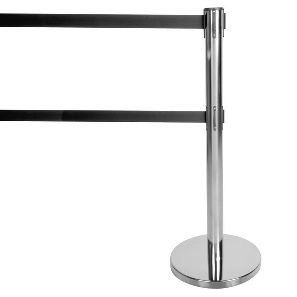 "Aarco HC-27 Chrome 40"" Crowd Control / Guidance Stanchion with Dual 84"" Black Retractable Belts Main Image 1"