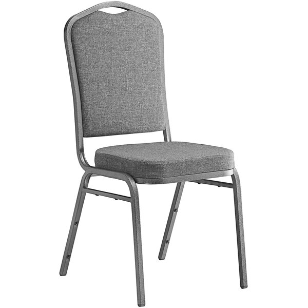 Lancaster Table & Seating Gray Fabric Crown Back Stackable Banquet Chair with Silver Vein Frame Main Image 1