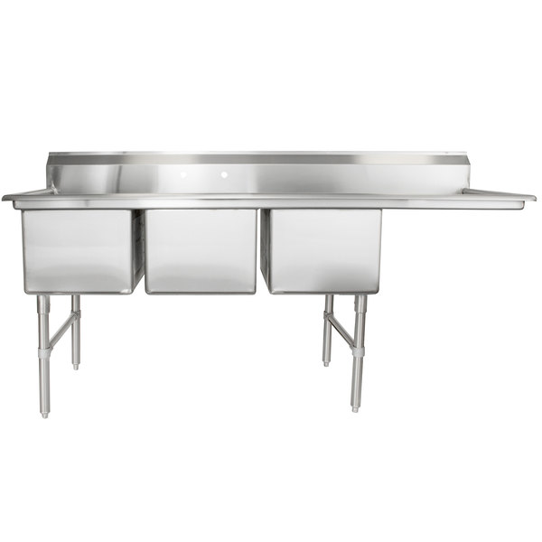 """Right Drainboard Regency 84 1/2"""" 16-Gauge Stainless Steel Three Compartment Commercial Sink with 1 Drainboard - 18"""" x 24"""" x 14"""" Bowls"""