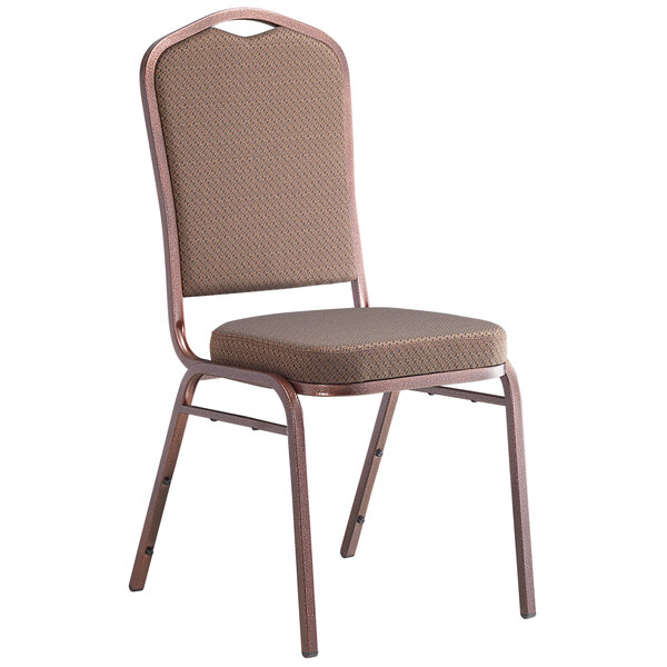 Lancaster Table & Seating Brown Pattern Fabric Crown Back Stackable Banquet Chair with Copper Vein Frame Main Image 1