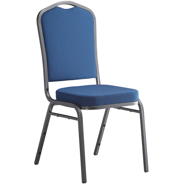Lancaster Table & Seating Navy Fabric Crown Back Stackable Banquet Chair with Silver Vein Frame Main Image 1