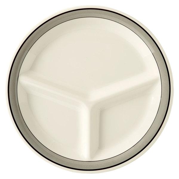 """GET CP-10-CA 10 1/4"""" Diamond Cambridge 3-Compartment Plate - 12/Case"""