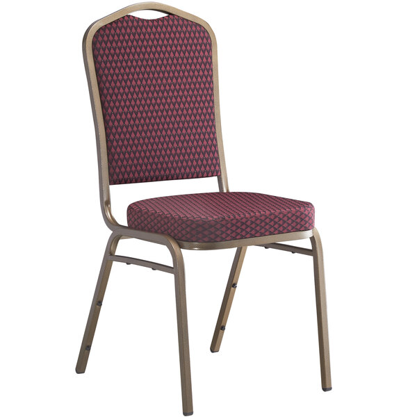 Lancaster Table & Seating Burgundy Pattern Fabric Crown Back Stackable Banquet Chair with Gold Vein Frame Main Image 1
