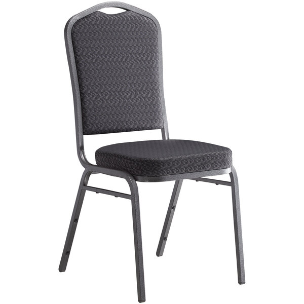 Lancaster Table & Seating Black Pattern Fabric Crown Back Stackable Banquet Chair with Silver Vein Frame Main Image 1