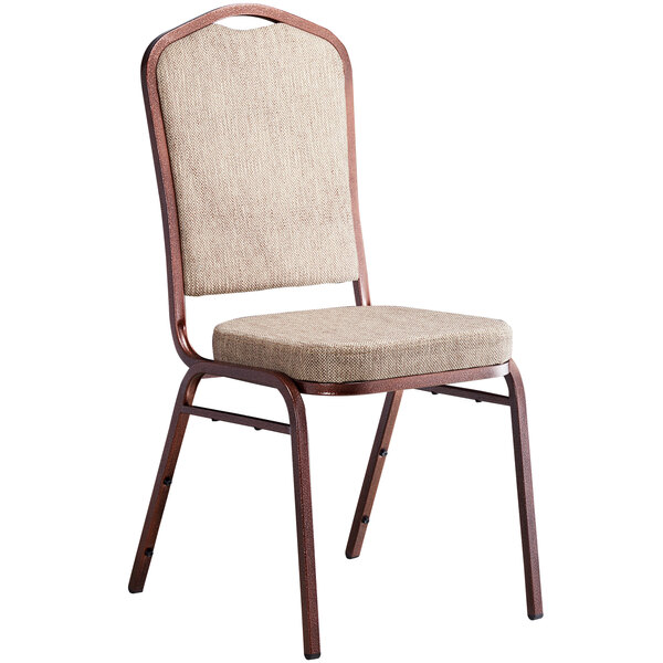Lancaster Table & Seating Tan Fabric Crown Back Stackable Banquet Chair with Copper Vein Frame Main Image 1