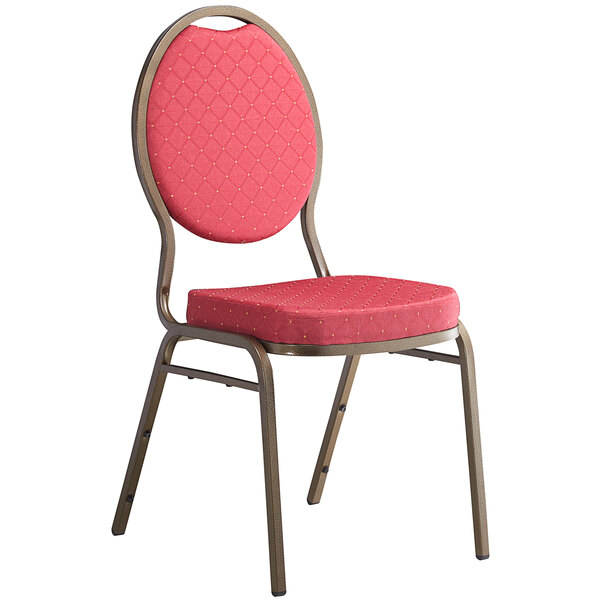 Lancaster Table & Seating Red Pattern Fabric Teardrop Back Stackable Banquet Chair with Gold Vein Frame Main Image 1