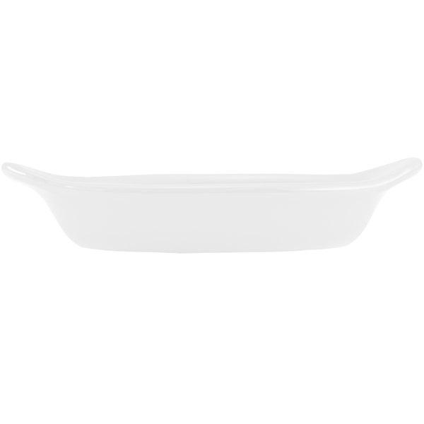 Hall China 5280ABWA Bright White 12 oz. Oval Rarebit / Au Gratin Dish - 24/Case