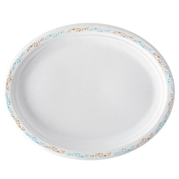 Huhtamaki Chinet 22518 7 1/2 inch x 10 inch Molded Fiber Oval Platter with Vine Design - 500/Case