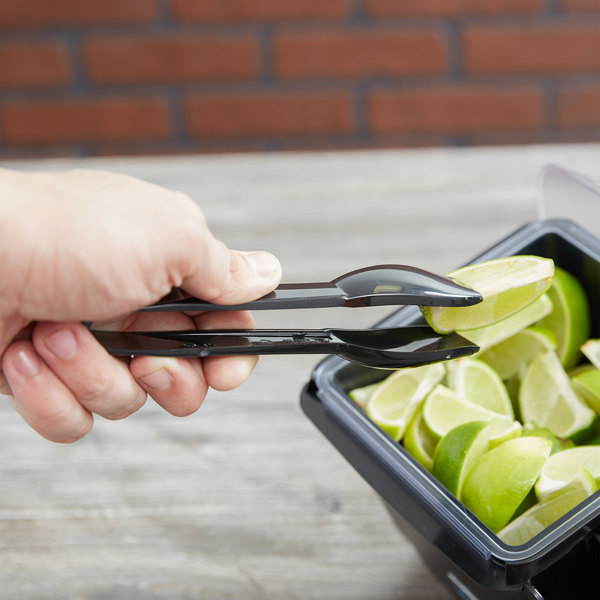 "Carlisle 460603 Carly 6"" Black Plastic Salad Tongs"