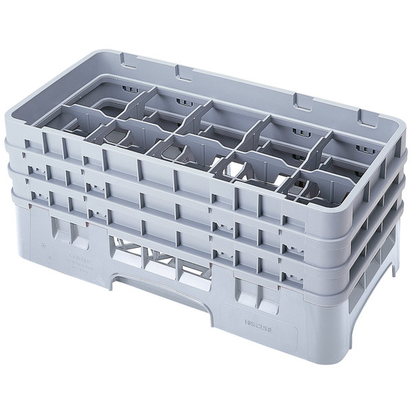 "Cambro 10HS638151 Soft Gray Camrack Customizable 10 Compartment 6 7/8"" Half Size Glass Rack"