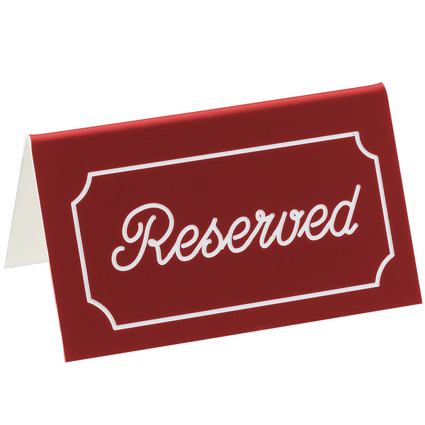 """Cal-Mil 273-1 5"""" x 3"""" Red/White Double-Sided """"Reserved"""" Tent Sign Main Image 1"""