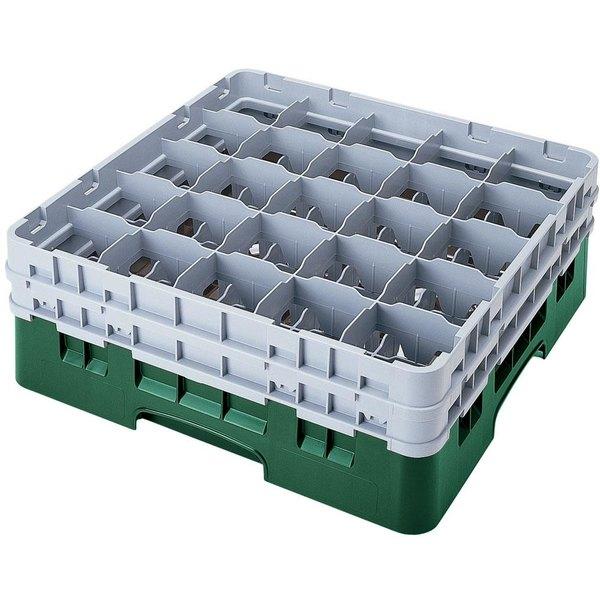 "Cambro 25S900119 Camrack 9 3/8"" High Customizable Sherwood Green 25 Compartment Glass Rack"
