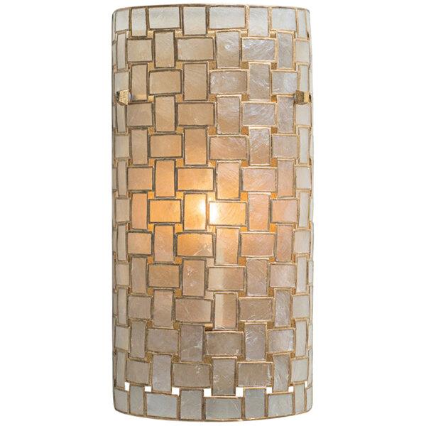 "Kalco 505820OL Roxy 7"" x 15"" ADA Compliant Capiz Shell Wall Sconce with Oxidized Gold Leaf Finish - 120V, 40W Main Image 1"