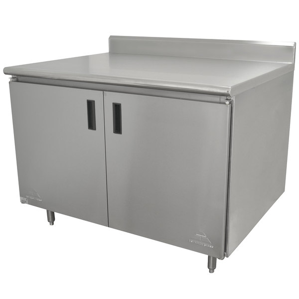 """Advance Tabco HK-SS-243 24"""" x 36"""" 14 Gauge Enclosed Base Stainless Steel Work Table with Hinged Doors and 5"""" Backsplash"""