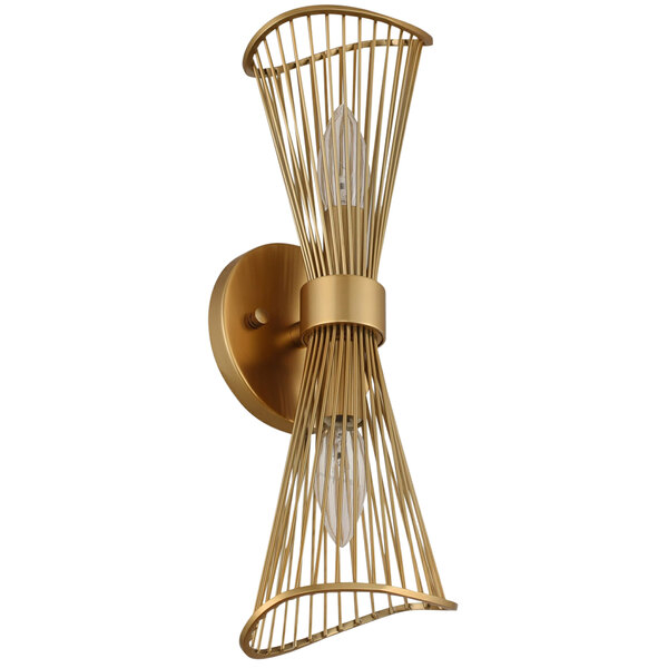Kalco 315922NRB Aurora 2-Light Modern Wall Sconce with Nordic Brass Finish - 120V, 60W Main Image 1