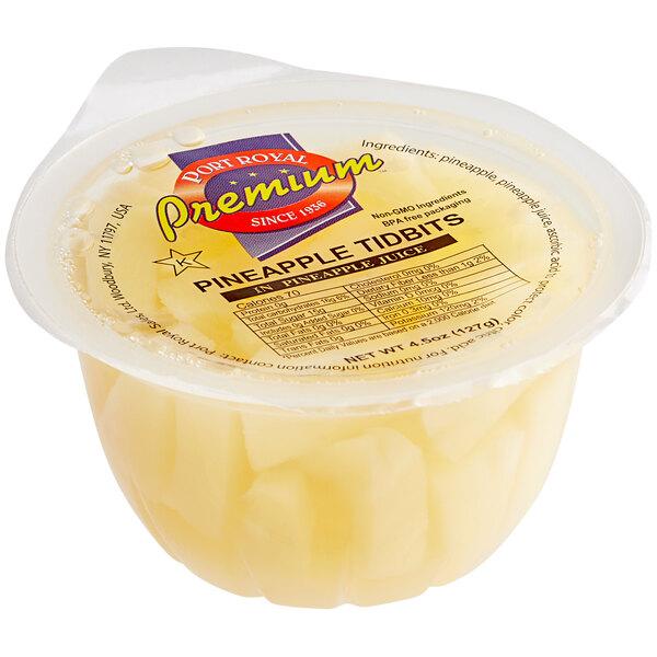 Premium Pineapple Tidbits in Natural Juice 4.5 oz. Cups - 96/Case Main Image 1
