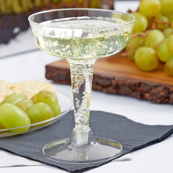 Fineline Flairware 2104 4 oz. Clear Plastic 2 Piece Champagne Glass - 20/Pack
