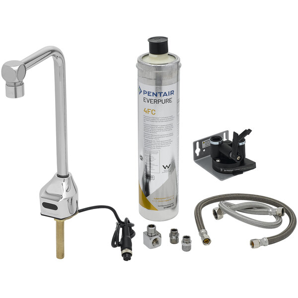 """T&S EC-1210-10-WFK ChekPoint 10"""" Deck Mount Sensor-Operated Glass Filler with Water Filter Cartridge Main Image 1"""
