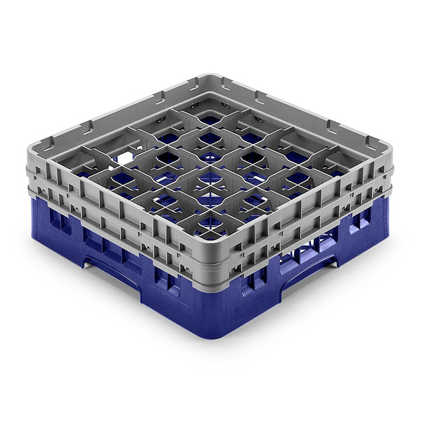 "Cambro 16S958186 Camrack Customizable 10 1/8"" High Customizable Navy Blue 16 Compartment Glass Rack"