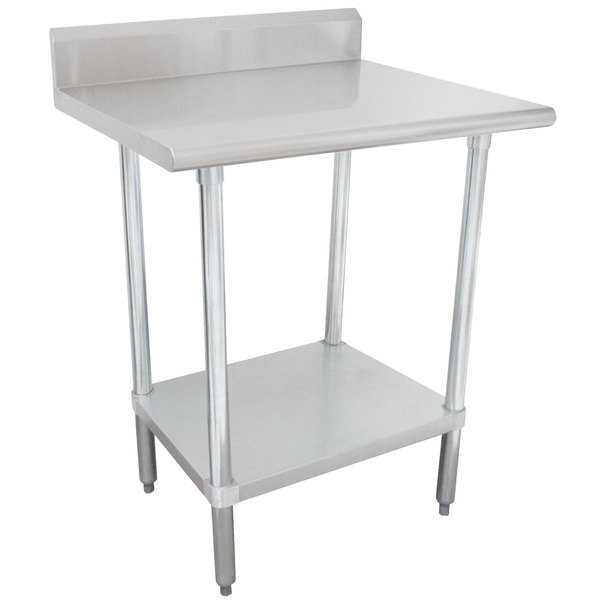 """Advance Tabco KMS-242 24"""" x 24"""" 16 Gauge Stainless Steel Commercial Work Table with 5"""" Backsplash and Undershelf"""