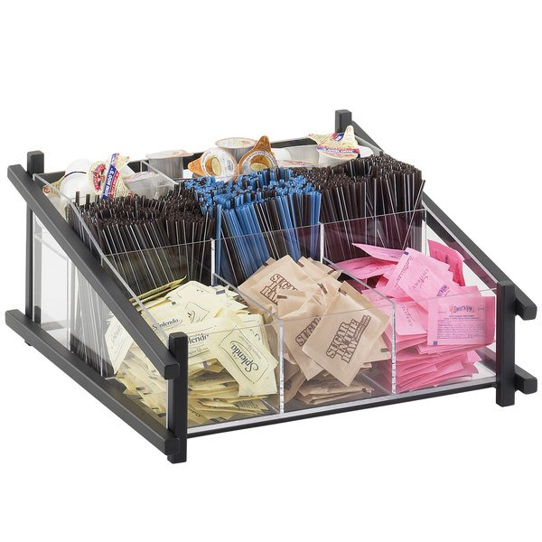 """Cal-Mil 1148-13 Black One by One Condiment Organizer - 13"""" x 14"""" x 6 1/2"""""""